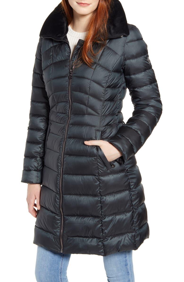 BERNARDO Water Resistant Packable Puffer Coat, Main, color, DARK JADE