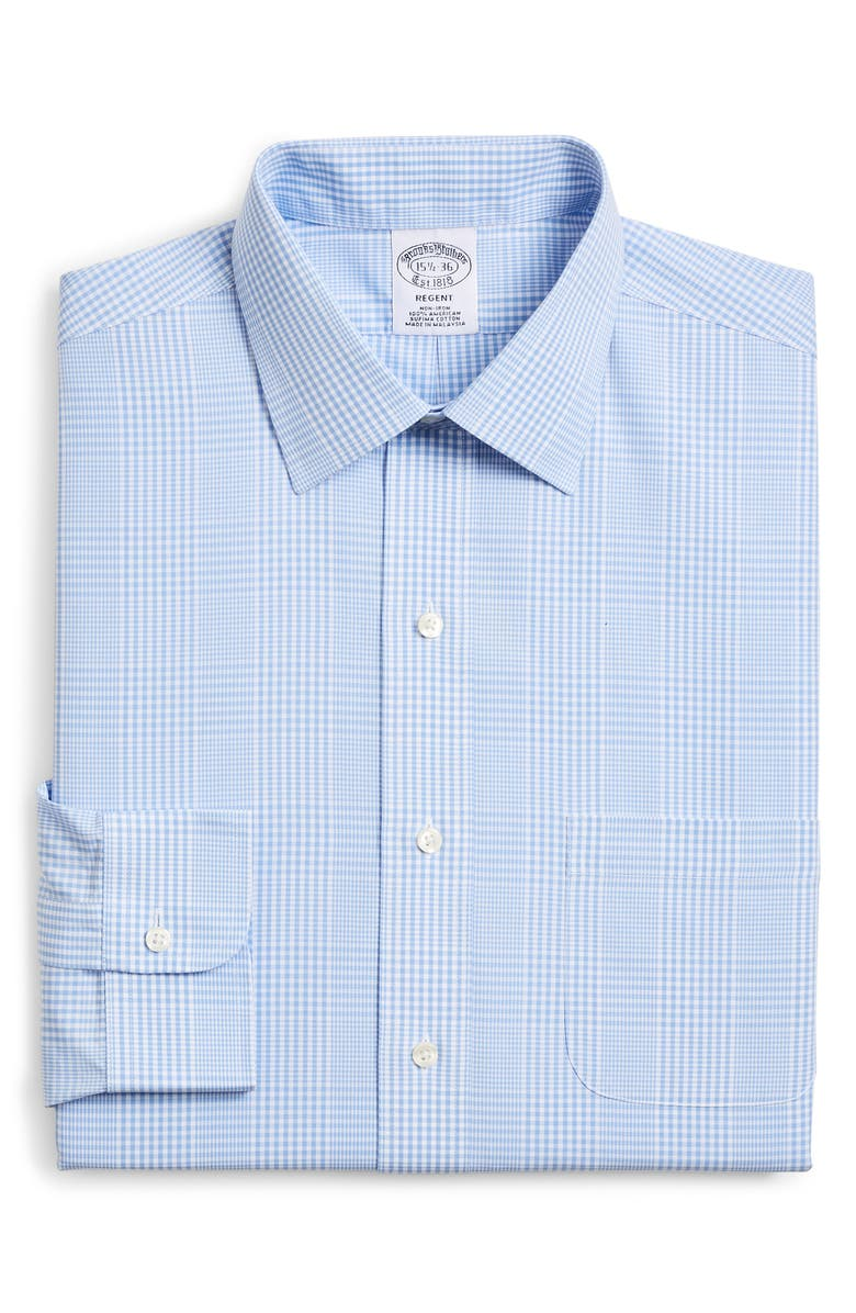 BROOKS BROTHERS Regular Fit Plaid Dress Shirt, Main, color, BLUE