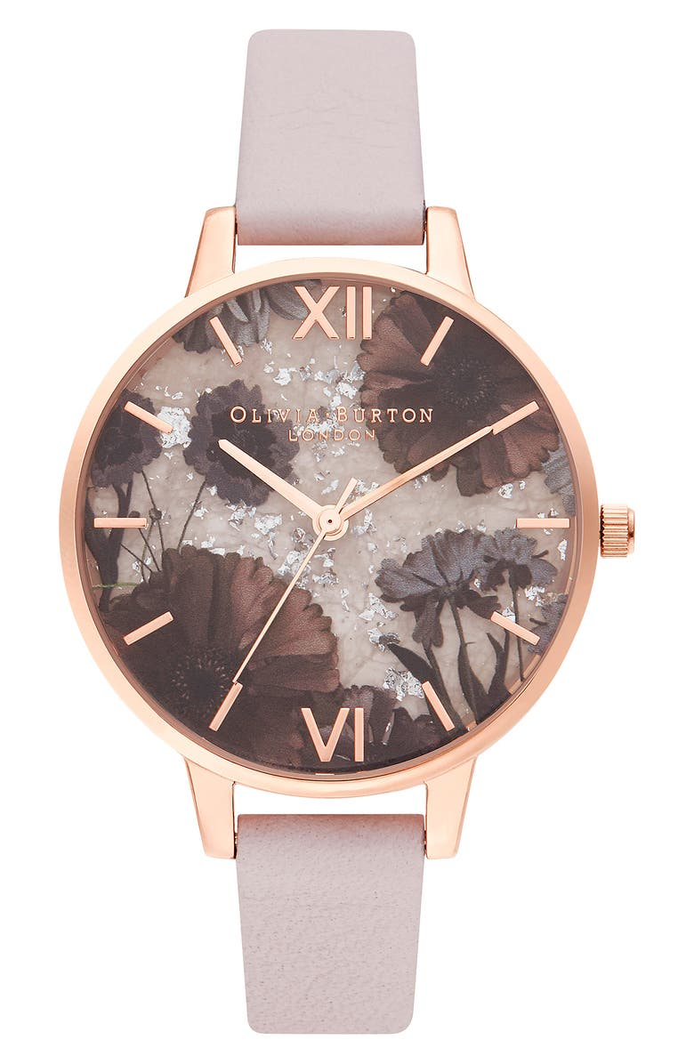 OLIVIA BURTON Celestial Leather Strap Watch, 34mm, Main, color, PINK/ FLORAL/ ROSE GOLD