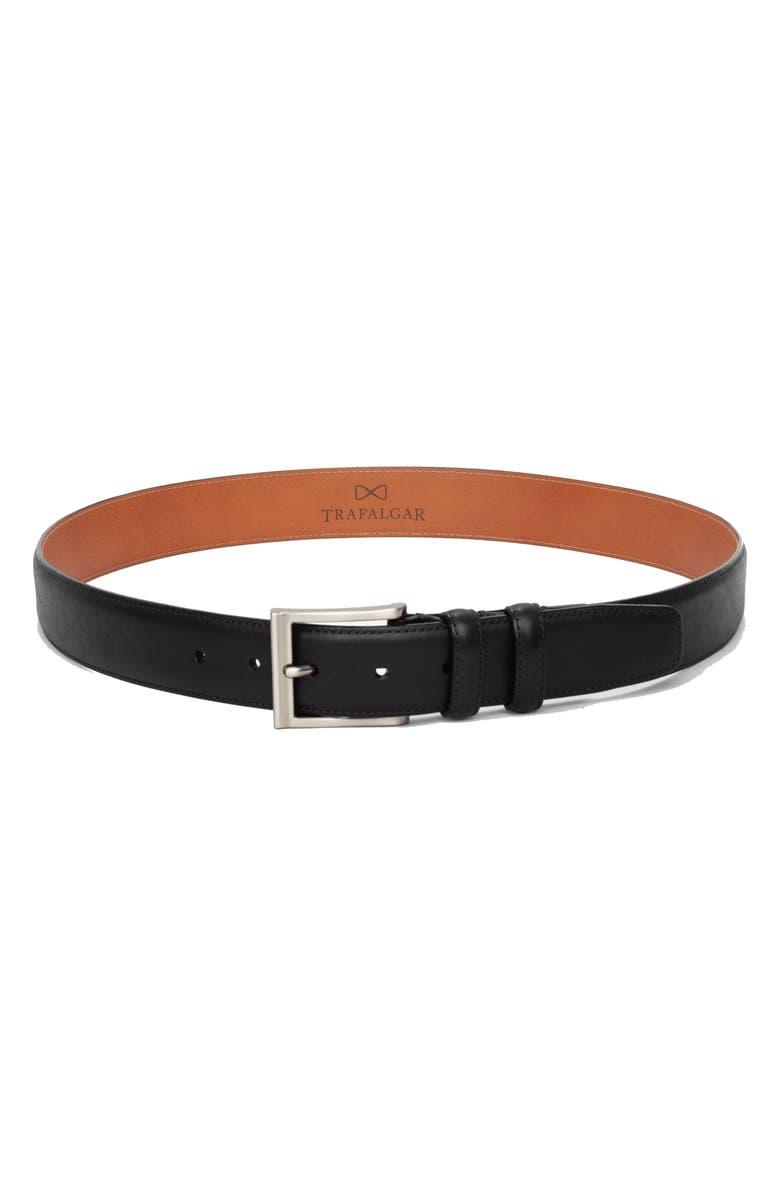 TRAFALGAR Corvino Leather Belt, Main, color, BLACK