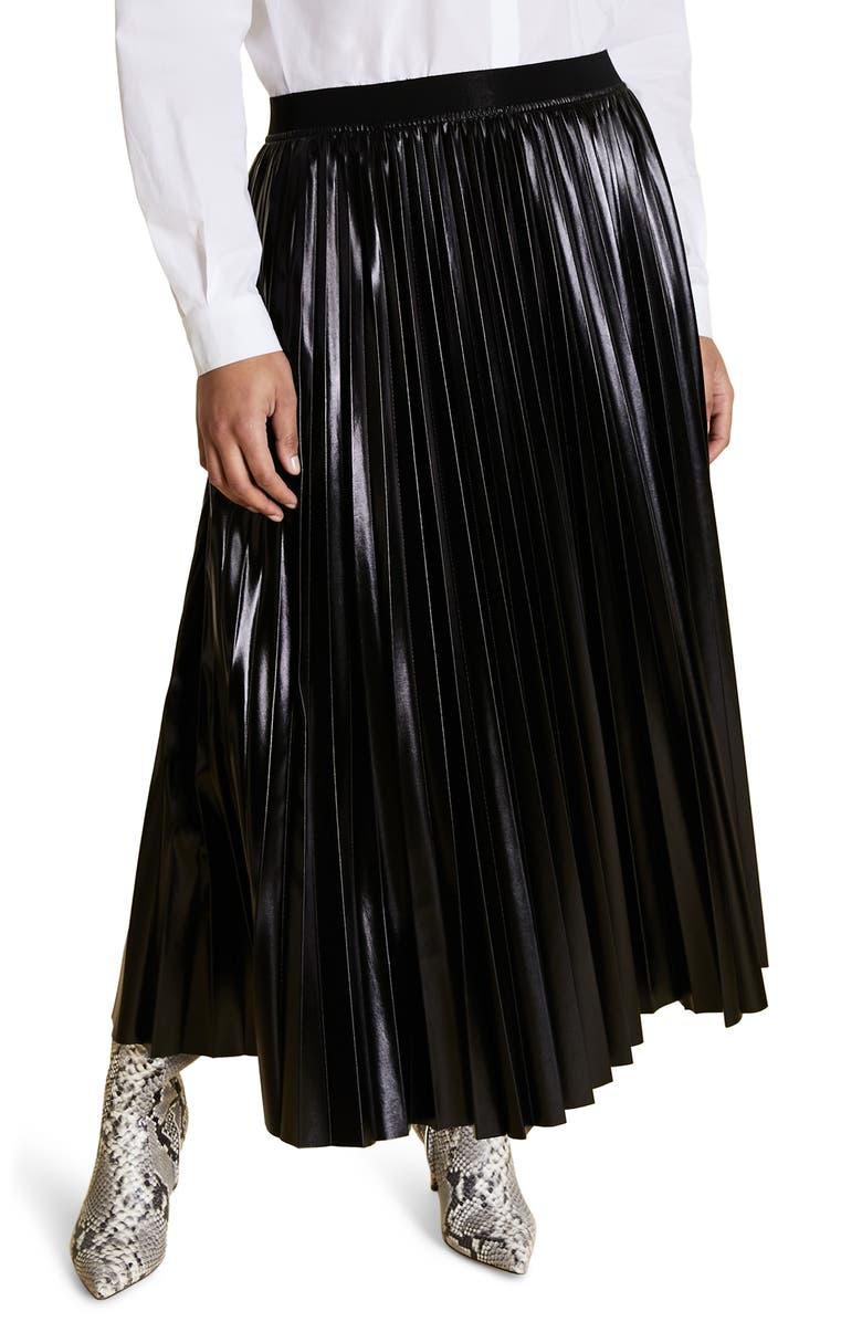 MARINA RINALDI Occulto Pleated Skirt, Main, color, BLACK