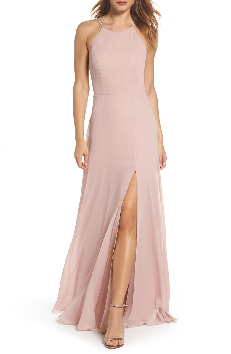 JENNY YOO Kayla A-Line Halter Gown, Main, color, WHIPPED APRICOT