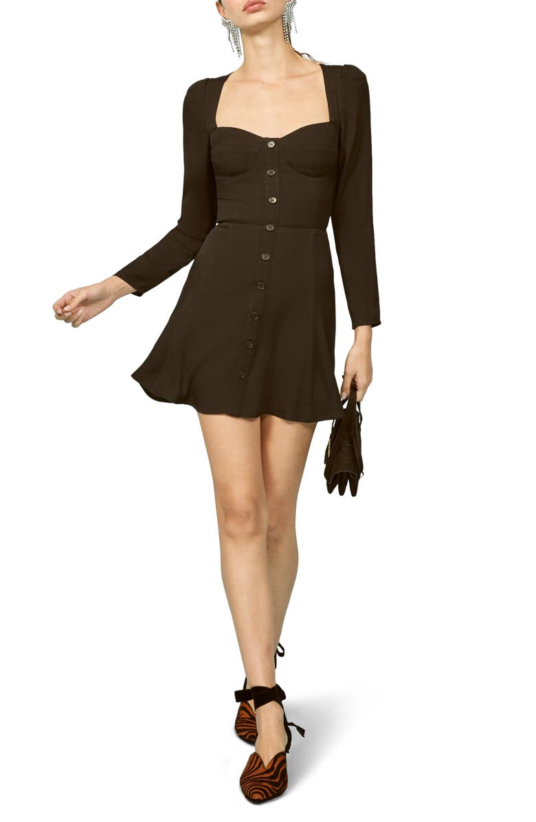 REFORMATION Milla Fit & Flare Minidress, Main, color, 001