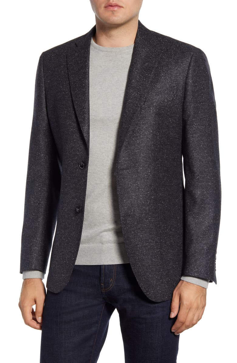 NORDSTROM SIGNATURE Trim Fit Solid Wool & Silk Sport Coat, Main, color, BLACK CAVIAR GREY NEP