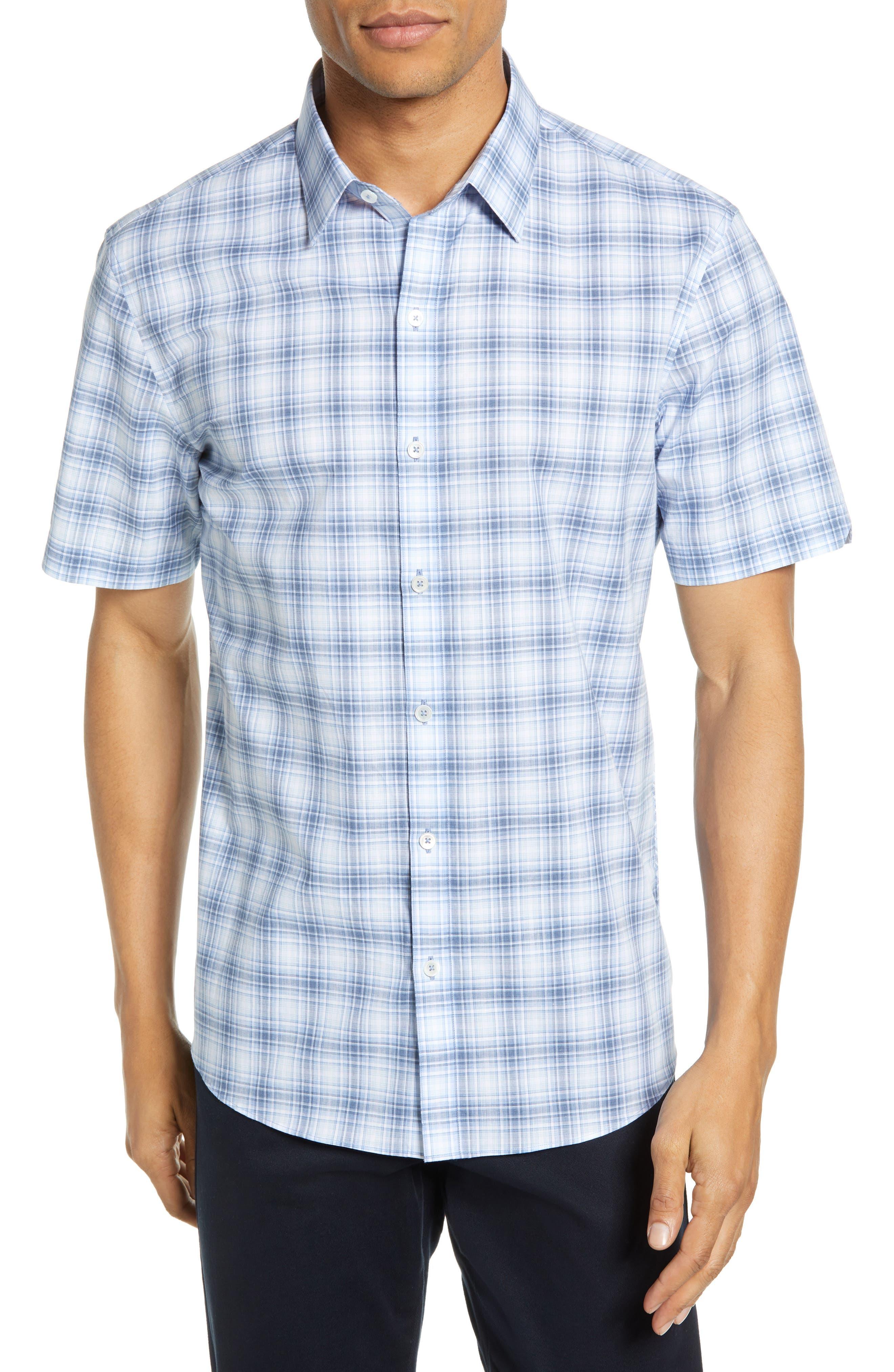 Bianco Regular Fit Plaid Sport Shirt, Main, color, LIGHT BLUE