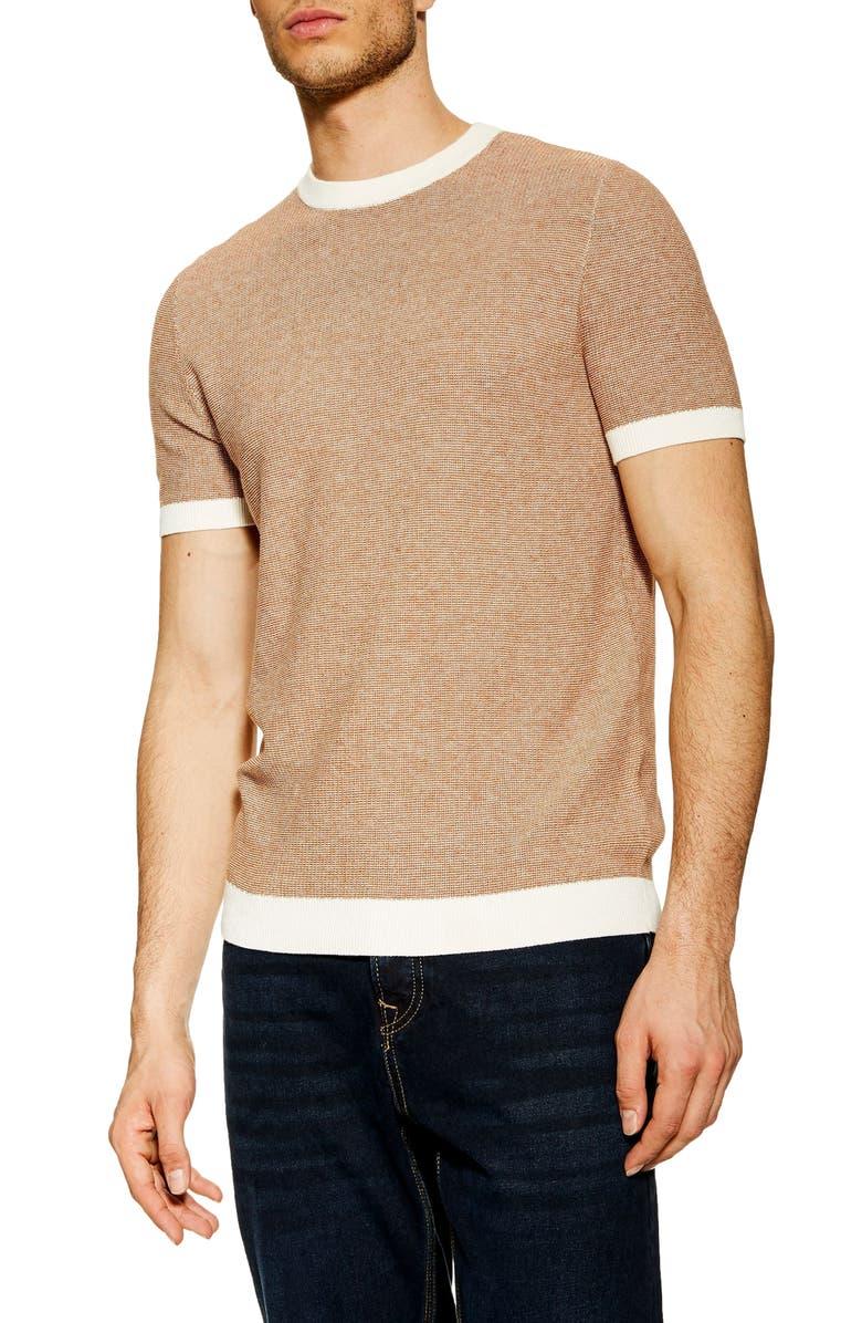 TOPMAN Short Sleeve Sweater T-Shirt, Main, color, BROWN MULTI