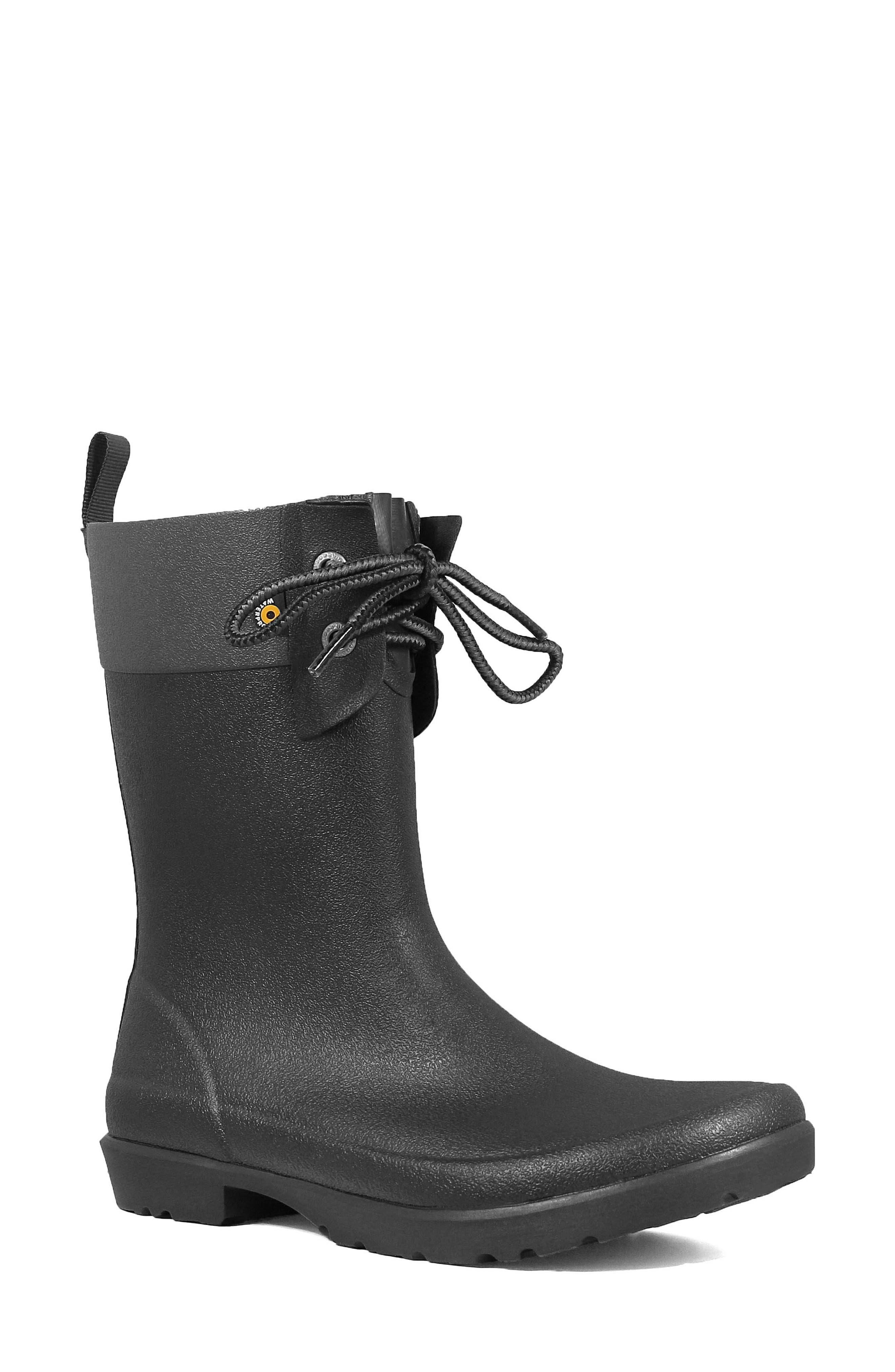 Bogs Floral Lace-Up Waterproof Rain Boot, Black