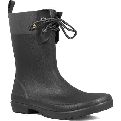 Bogs Floral Lace-Up Waterproof Rain Boot, Black