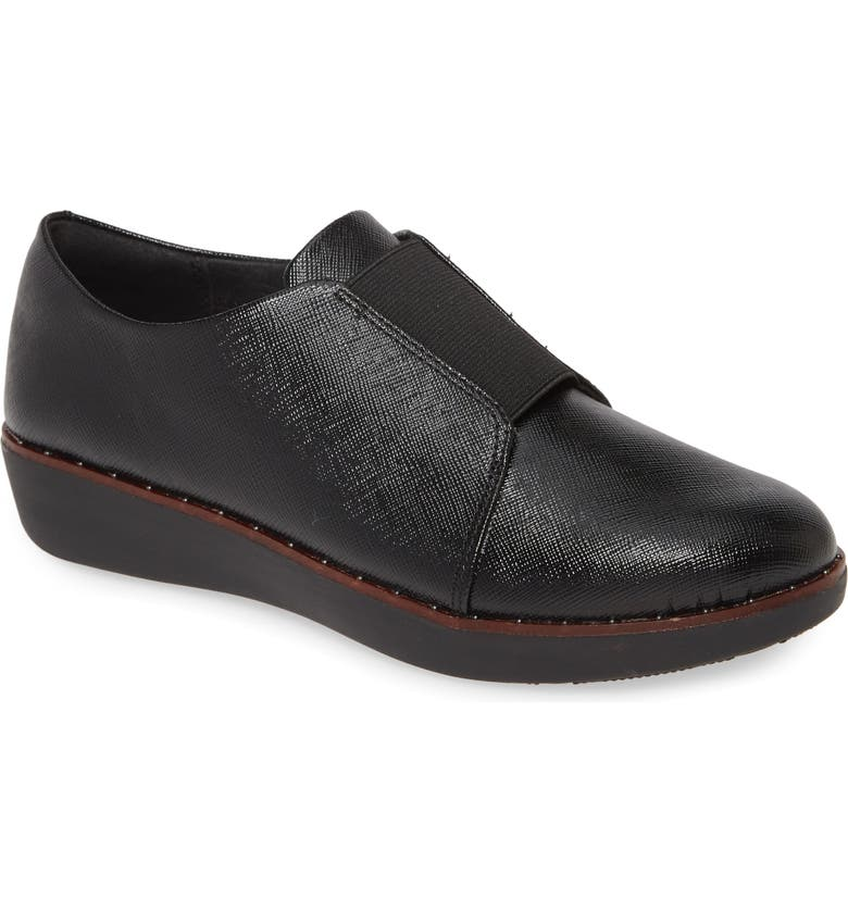 FITFLOP Laceless Derby, Main, color, ALL BLACK FAUX PATENT LEATHER