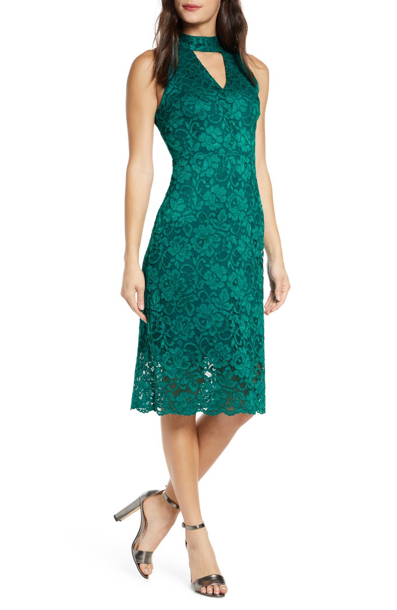 SAM EDELMAN Keyhole Lace Sheath Dress, Main, color, TEAL