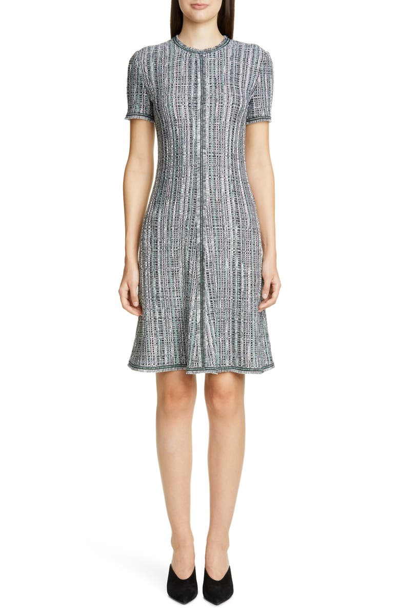 ST. JOHN COLLECTION Ribbon Textured Inlay Knit Dress, Main, color, JADE MULTI
