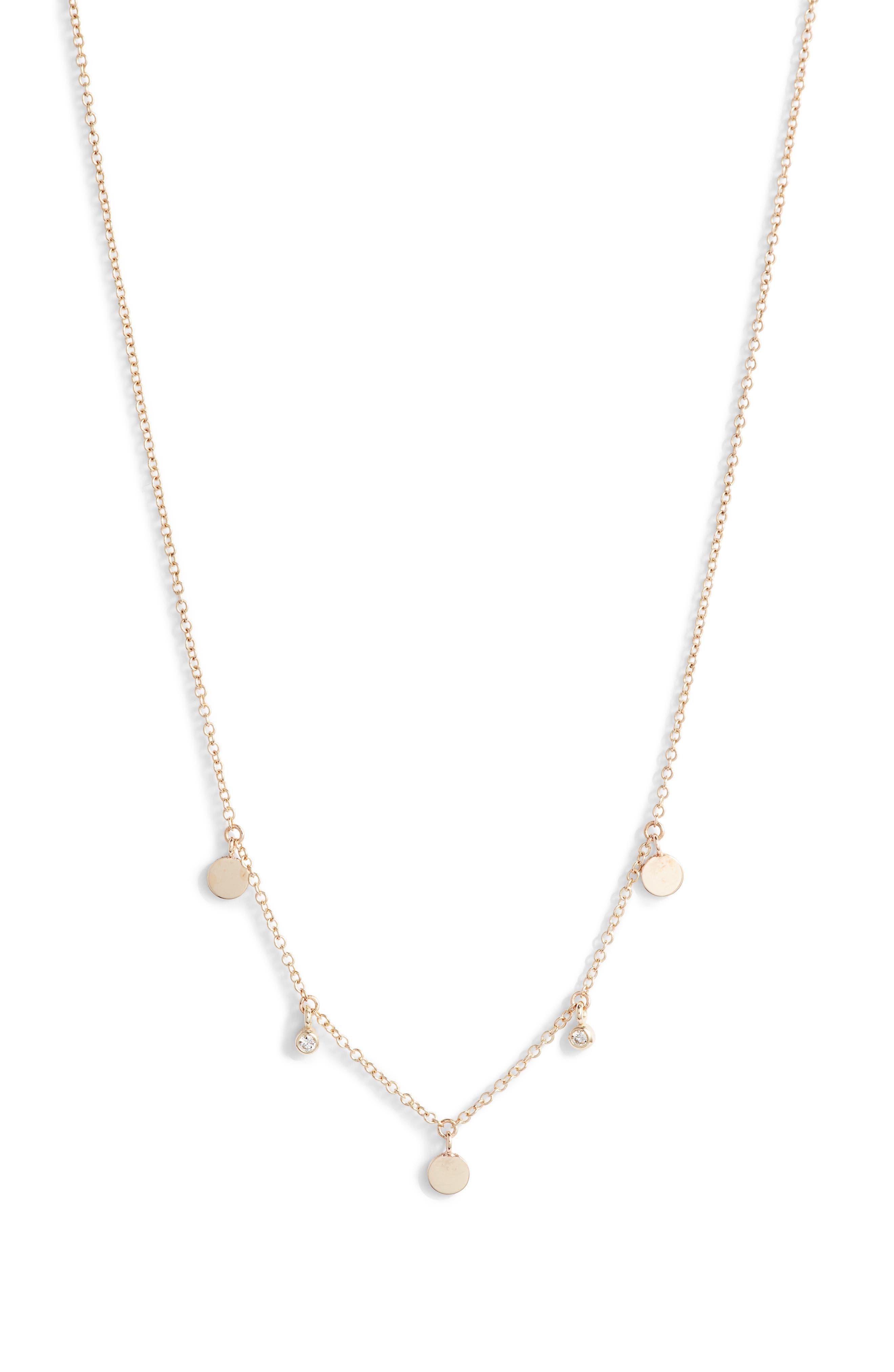 Zoe Chicco Itty Bitty Diamond & Round Disc Station Necklace