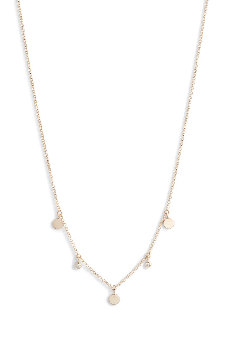 ZOË CHICCO Itty Bitty Diamond & Round Disc Station Necklace, Main, color, GOLD