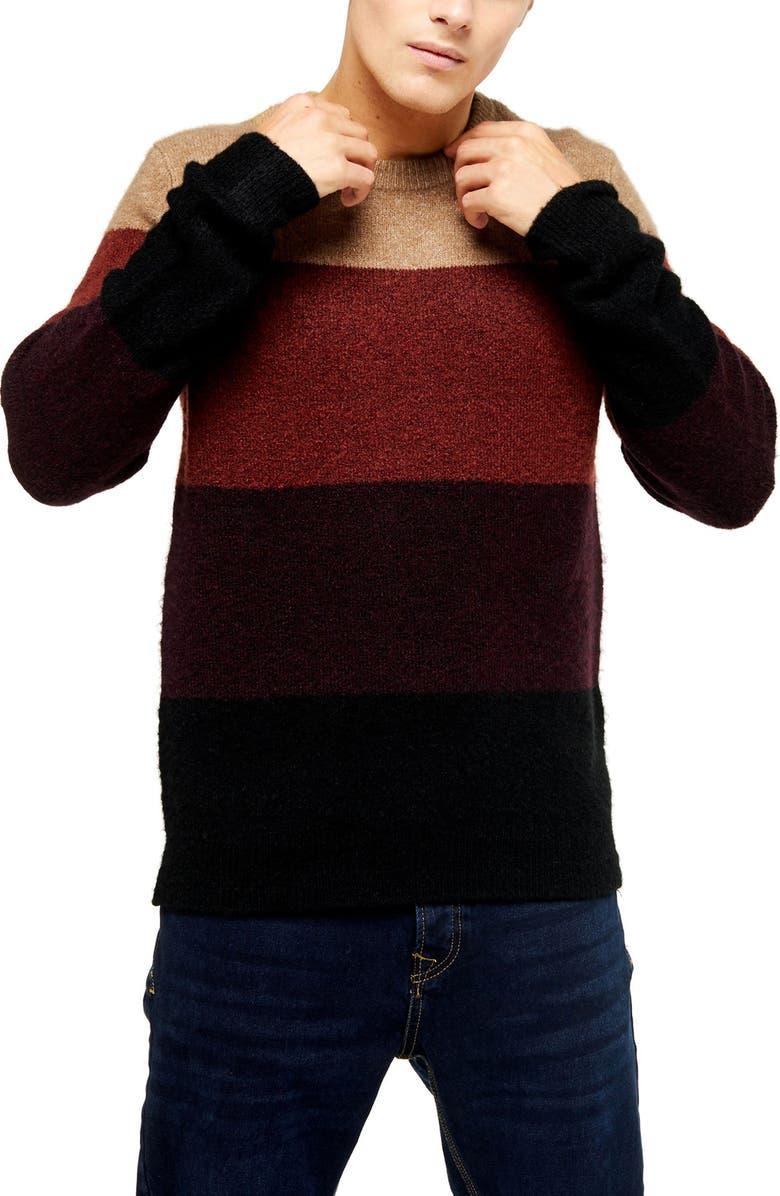 TOPMAN Harlow Classic Fit Colorblock Crewneck Sweater, Main, color, 200