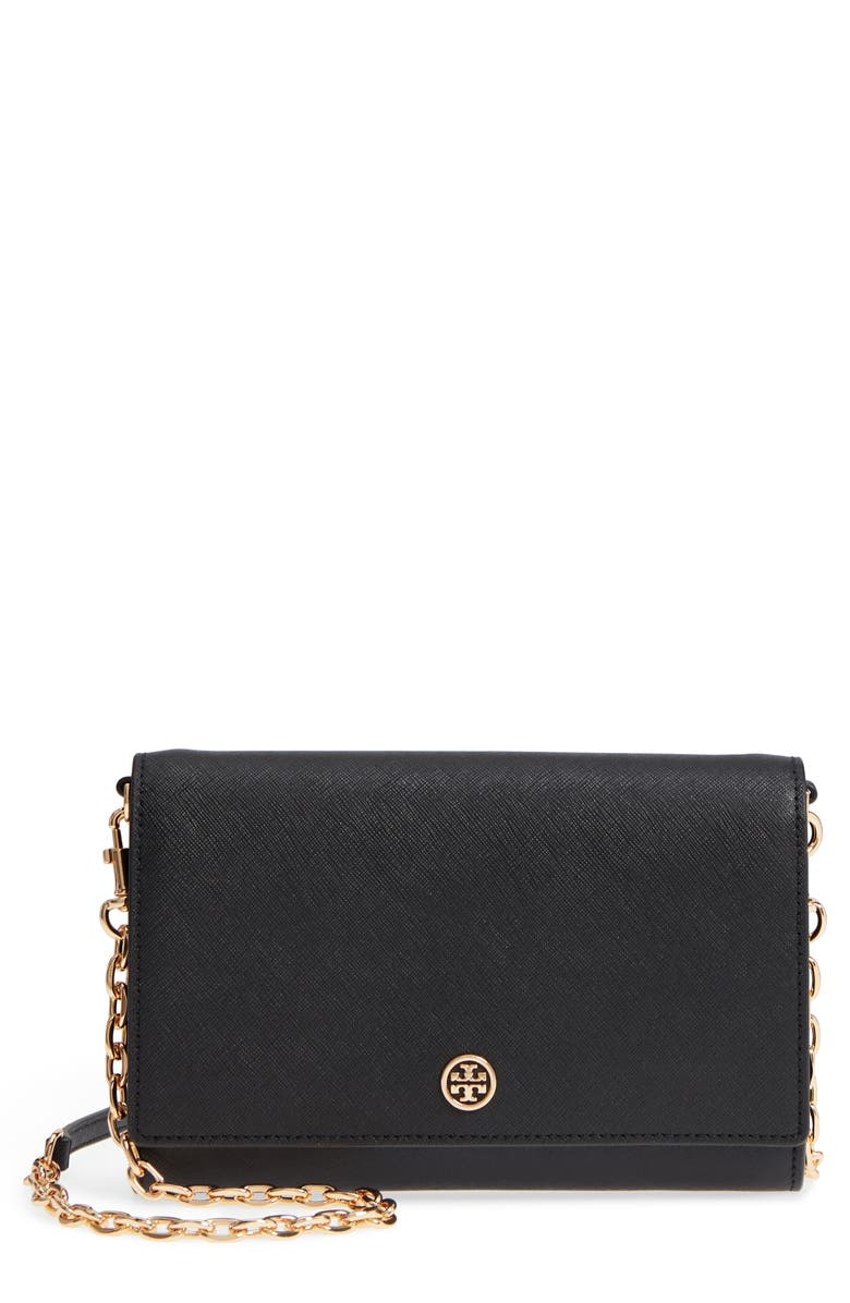 TORY BURCH Robinson Leather Wallet on a Chain, Main, color, 001