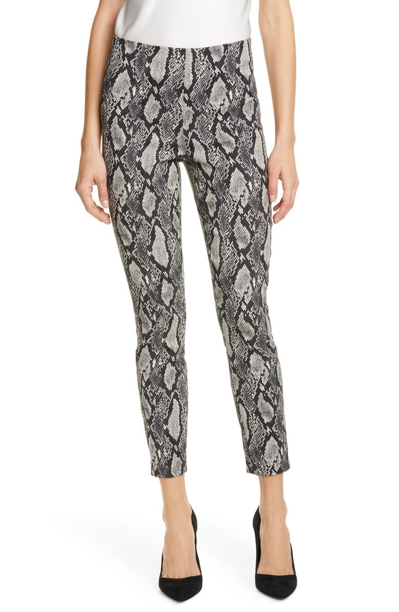 ALICE + OLIVIA Gloriane Snake Print Zip Cuff Crop Pants, Main, color, BLACK/ MULTI