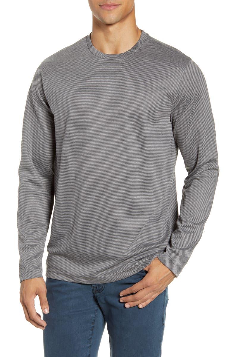 NORDSTROM MEN'S SHOP Long Sleeve Pinstripe T-Shirt, Main, color, GREY TORNADO STRIPE