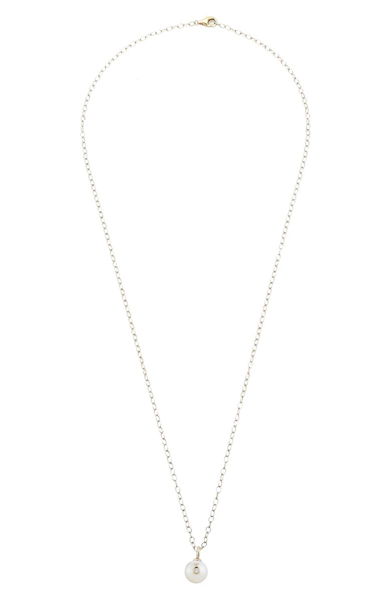 MIZUKI Round Genuine Pearl & Diamond Pendant Necklace, Main, color, YELLOW GOLD/ PEARL
