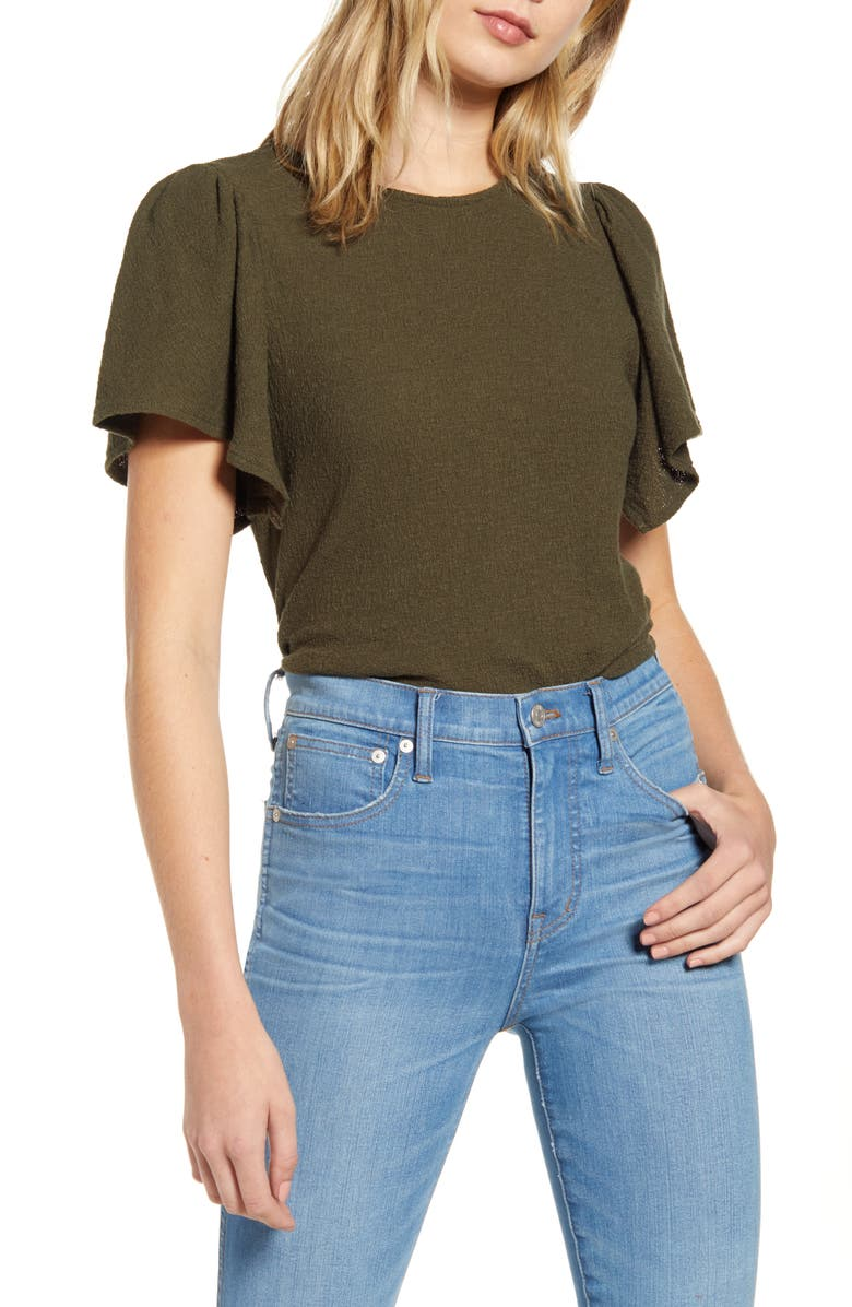 MADEWELL Texture & Thread Flutter Sleeve Top, Main, color, DRIED OLIVE
