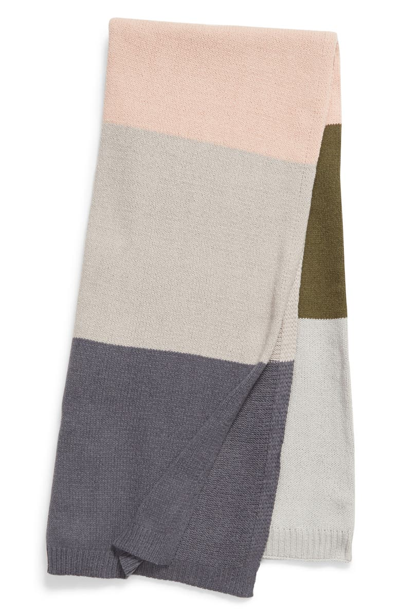 BP. Stripe Knit Throw Blanket, Main, color, GREY EXCALIBUR