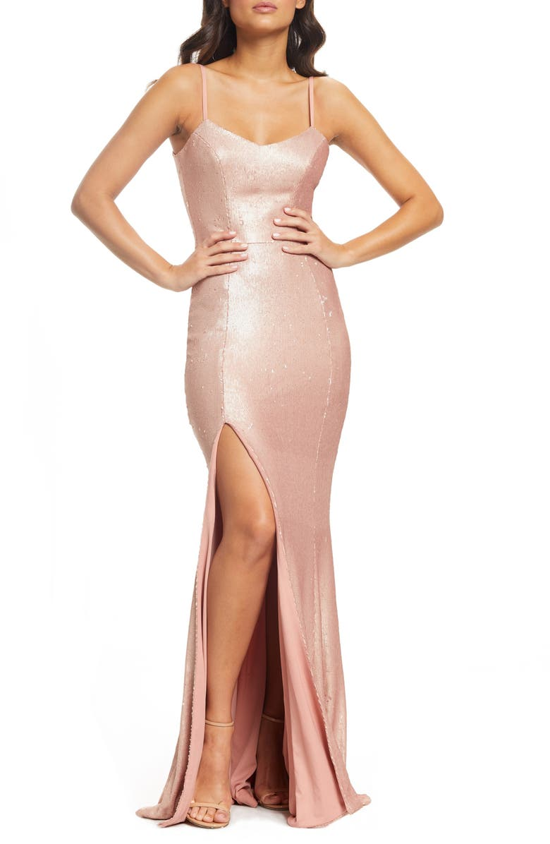 DRESS THE POPULATION Ingrid Sequin Evening Dress, Main, color, 680