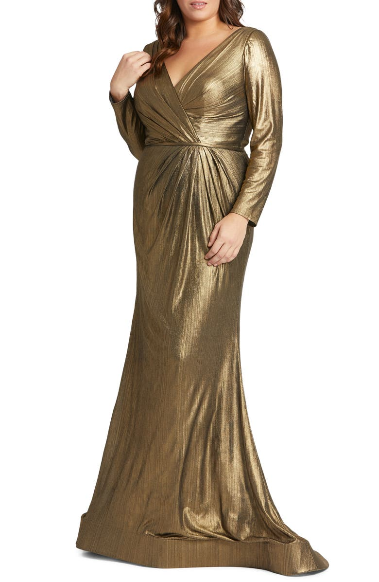 MAC DUGGAL Metallic Long Sleeve Faux Wrap Gown, Main, color, 710