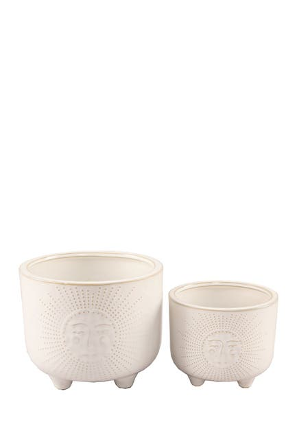 "Image of FLORA BUNDA Ivory 6"" & 4.75"" Sunny Ceramic Footed Planter - Set of 2"