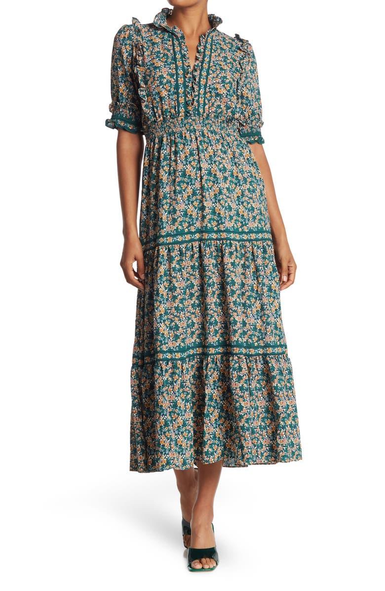 MAX STUDIO Elbow Length Sleeve Print Tiered Maxi Dress, Main, color, SPRGLTCM