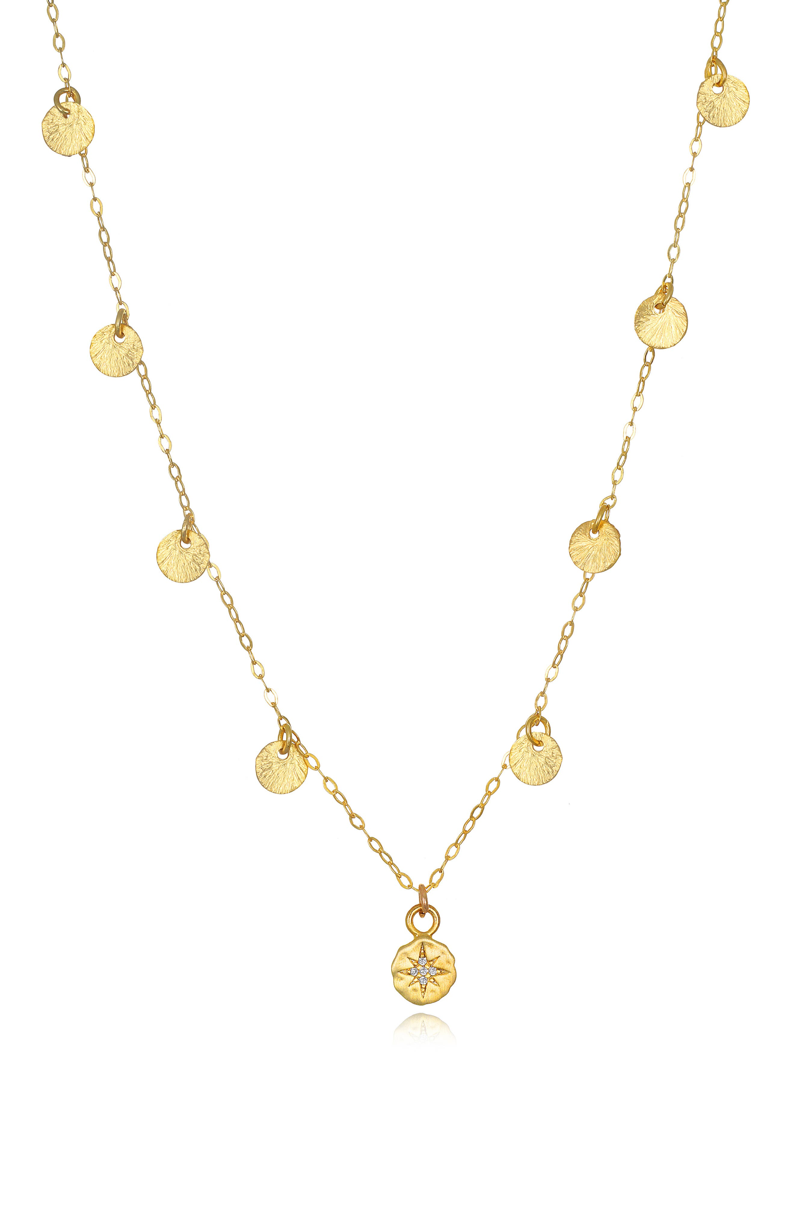 Amelia Rose Catalina Starburst Pendant Necklace in Gold at Nordstrom