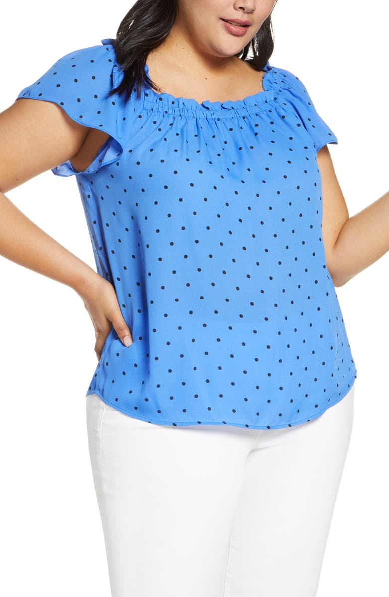CECE Tropic Dot Ruffle Blouse, Main, color, TROPIC NIGHT
