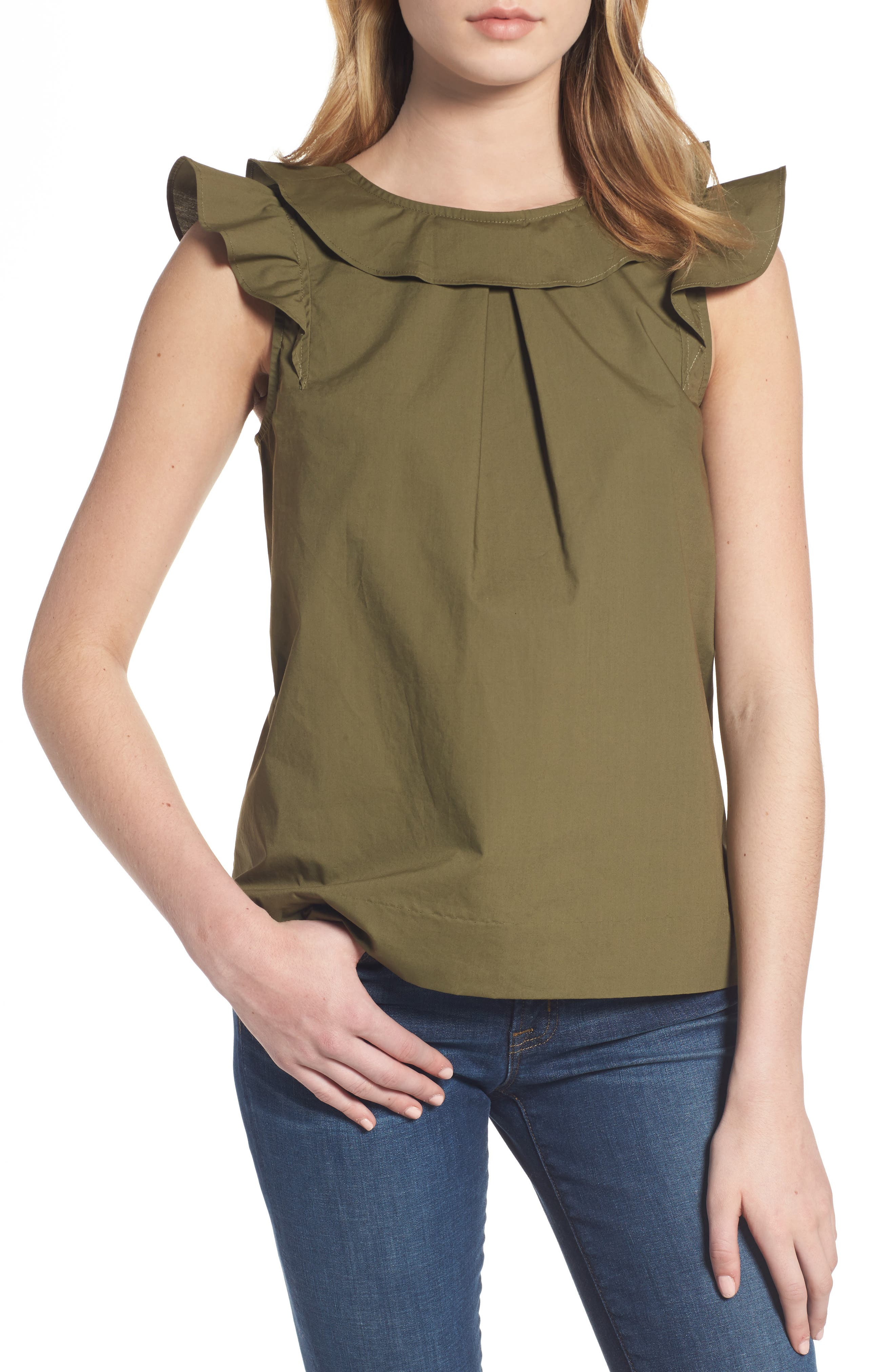 ,                             Ruffle Cotton Poplin Top,                             Main thumbnail 6, color,                             340