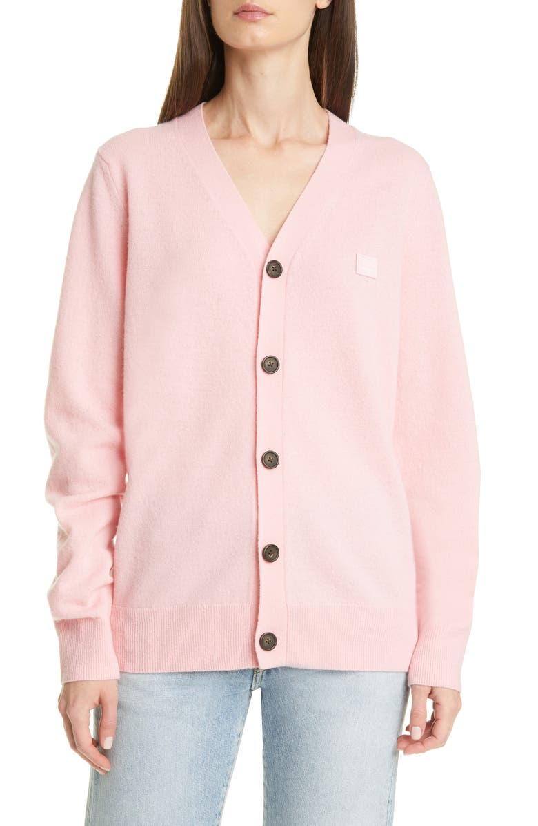 ACNE STUDIOS Keve Face Patch Wool Cardigan, Main, color, BLUSH PINK
