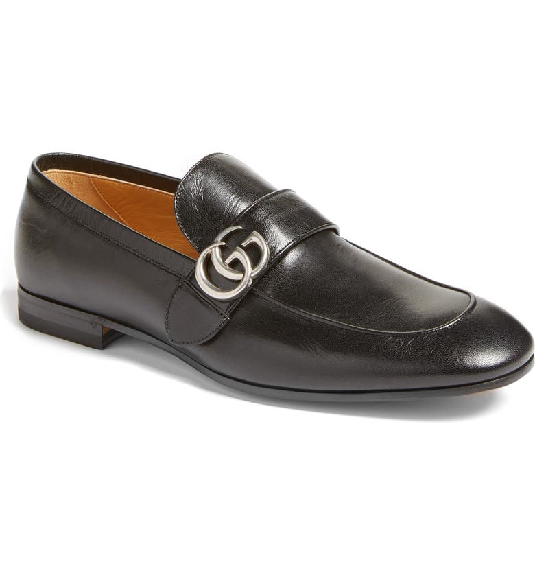 GUCCI Donnie Double G Loafer, Main, color, NERO/ NERO LEATHER