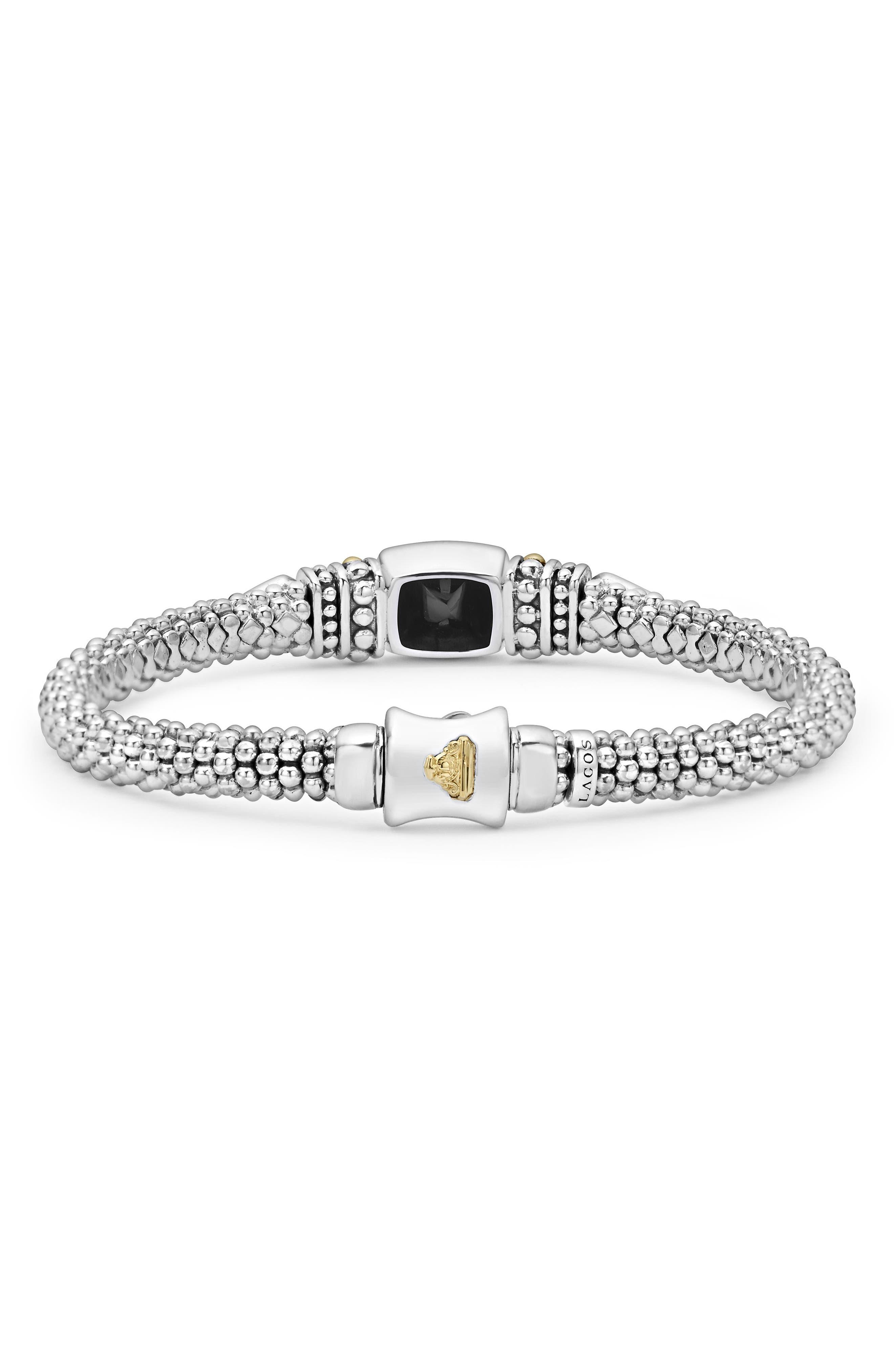 ,                             'Caviar Color' Semiprecious Stone Bracelet,                             Alternate thumbnail 2, color,                             BLACK ONYX