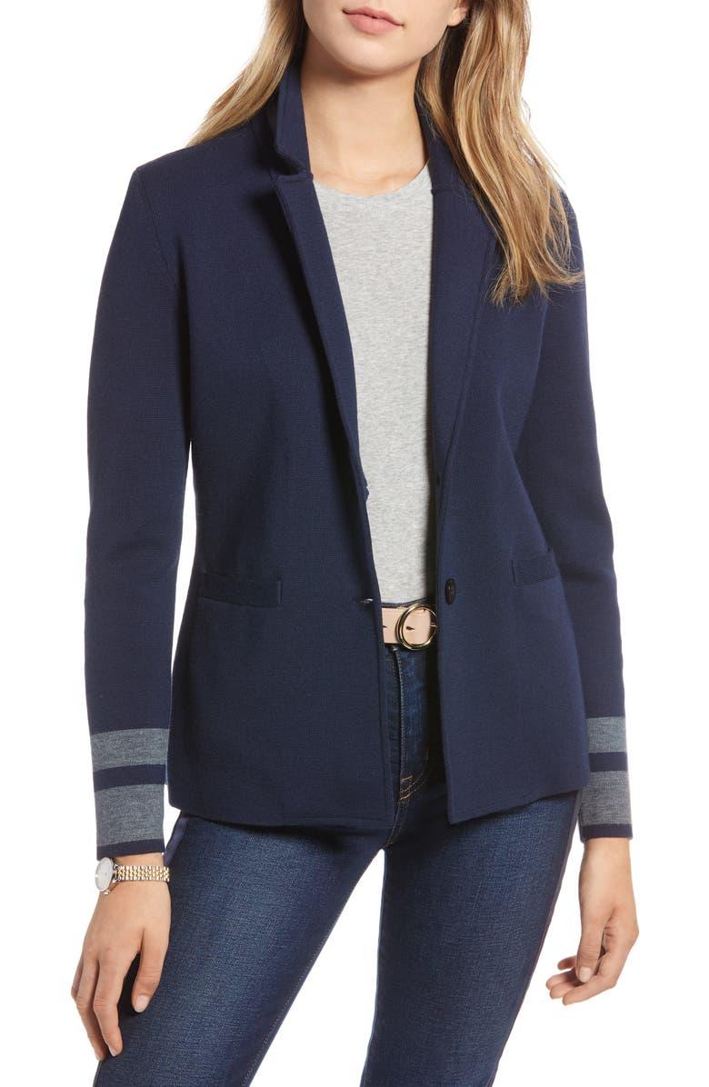 1901 Stretch Wool Blend Sweater Blazer, Main, color, NAVY- GREY HTHR SLEEVE STRIPE