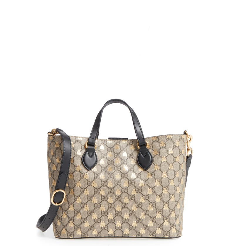 GUCCI Bee GG Supreme Small Canvas Tote, Main, color, 250