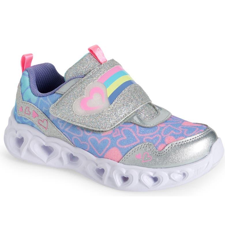 SKECHERS Heart Lights Light-Up Sneaker, Main, color, SILVER/ MULTI