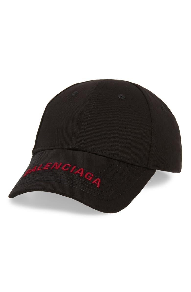 BALENCIAGA Logo Embroidered Baseball Cap, Main, color, BLACK BORDEAUX
