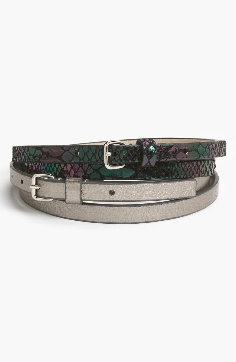 LODIS LOS ANGELES Lodis '2-Fer' Leather Belts, Main, color, PEWTER
