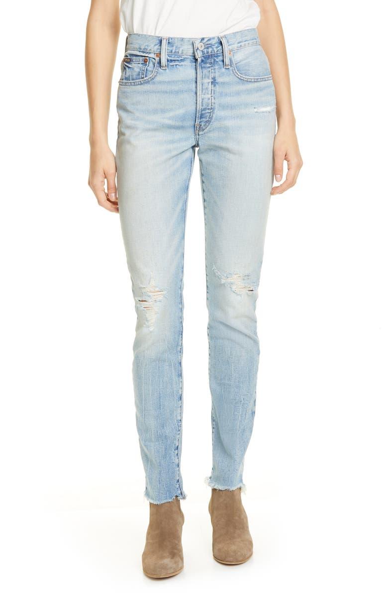 POLO RALPH LAUREN Distressed Raw Hem Skinny Jeans, Main, color, BLUE
