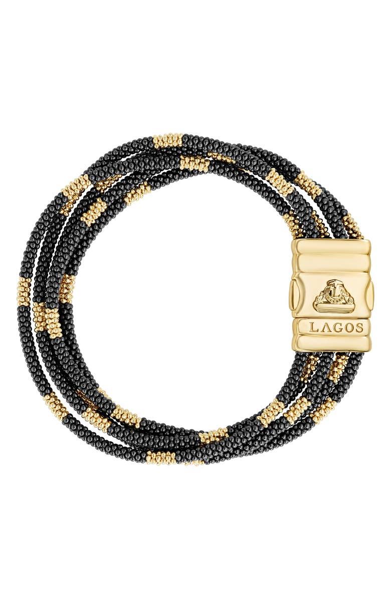 LAGOS Gold & Black Caviar Bead Bracelet, Main, color, GOLD