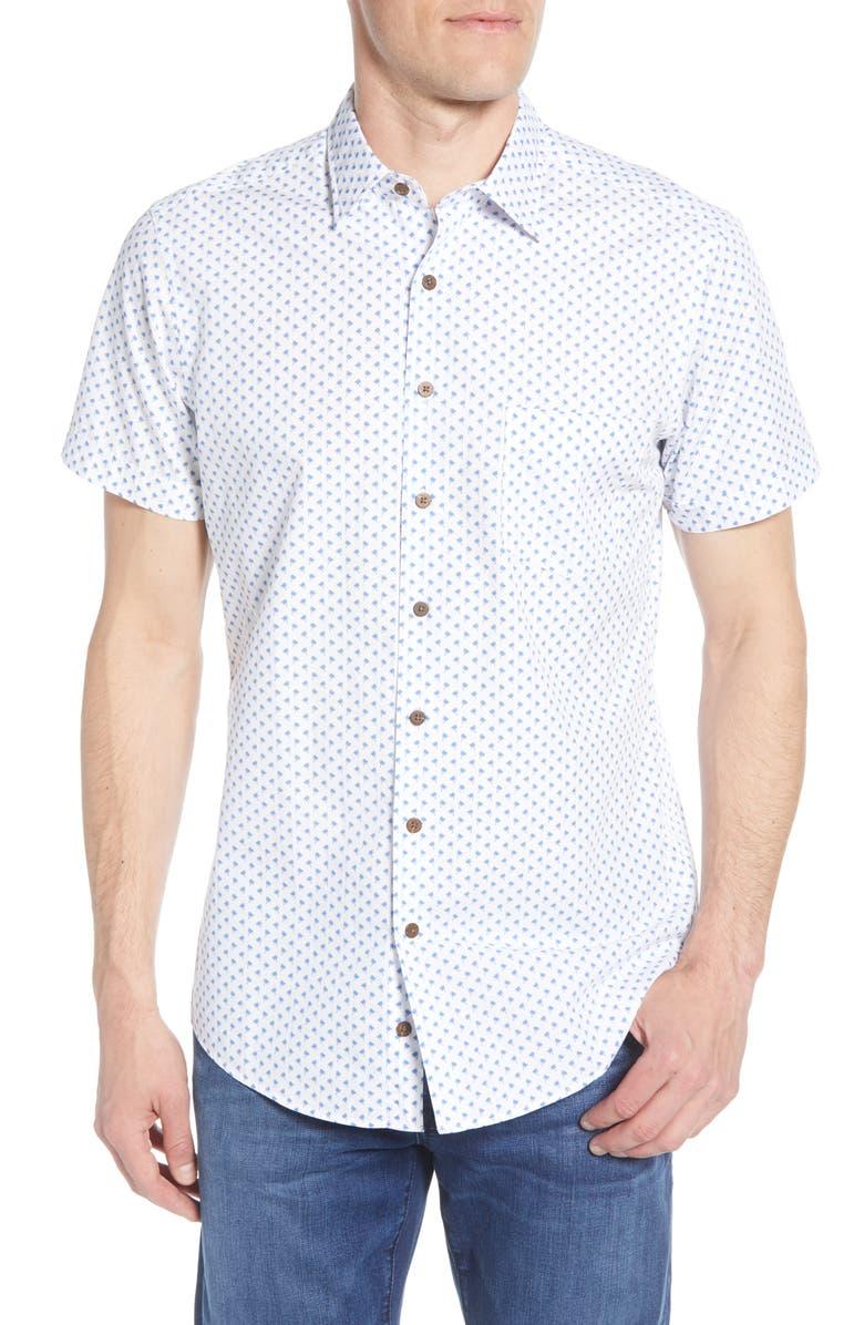 RODD & GUNN Argyll East Regular Fit Short Sleeve Button-Up Shirt, Main, color, FOAM