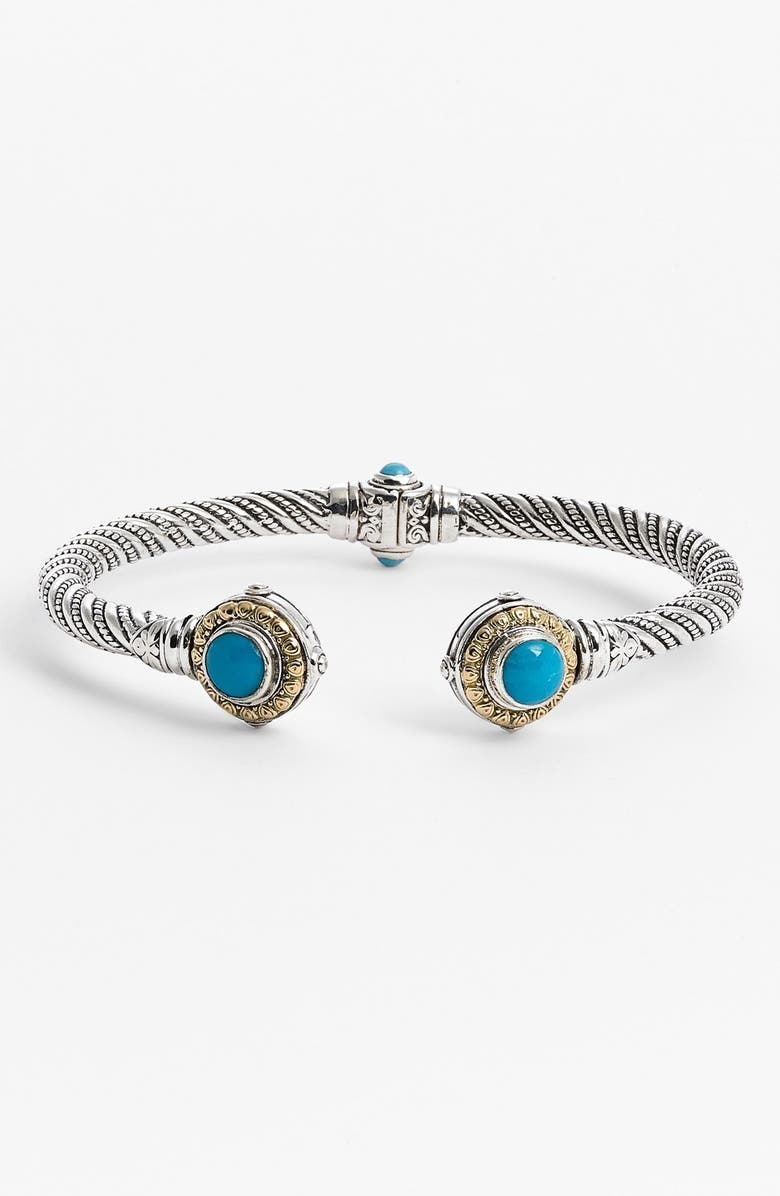 KONSTANTINO 'Hermione' Hinged Cuff, Main, color, SILVER/ TURQUOISE