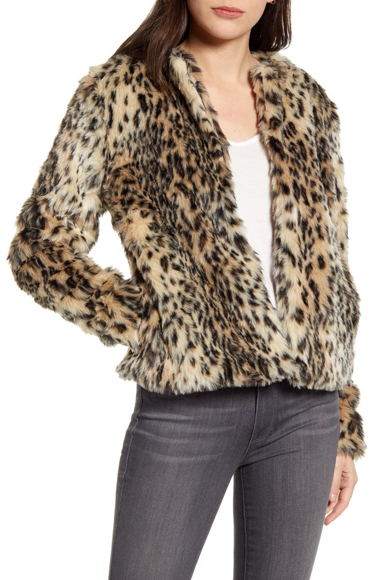 CHELSEA28 Faux Leopard Fur Jacket, Main, color, BEIGE- BLACK LEOPARD