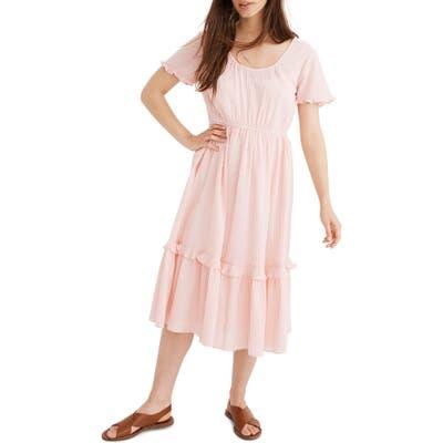 Madewell Gingham Tiered Midi Dress, Pink