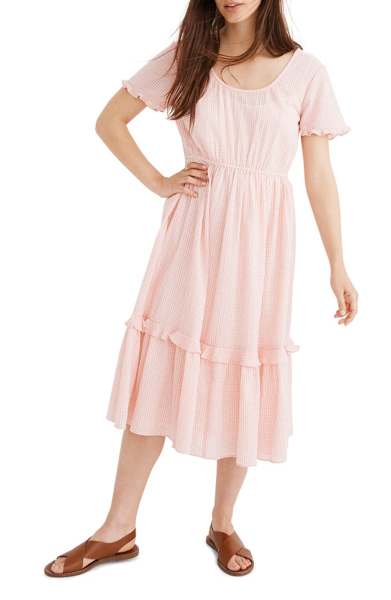 MADEWELL Gingham Tiered Midi Dress, Main, color, BABY GINGHAM LIGHT BLOSSOM