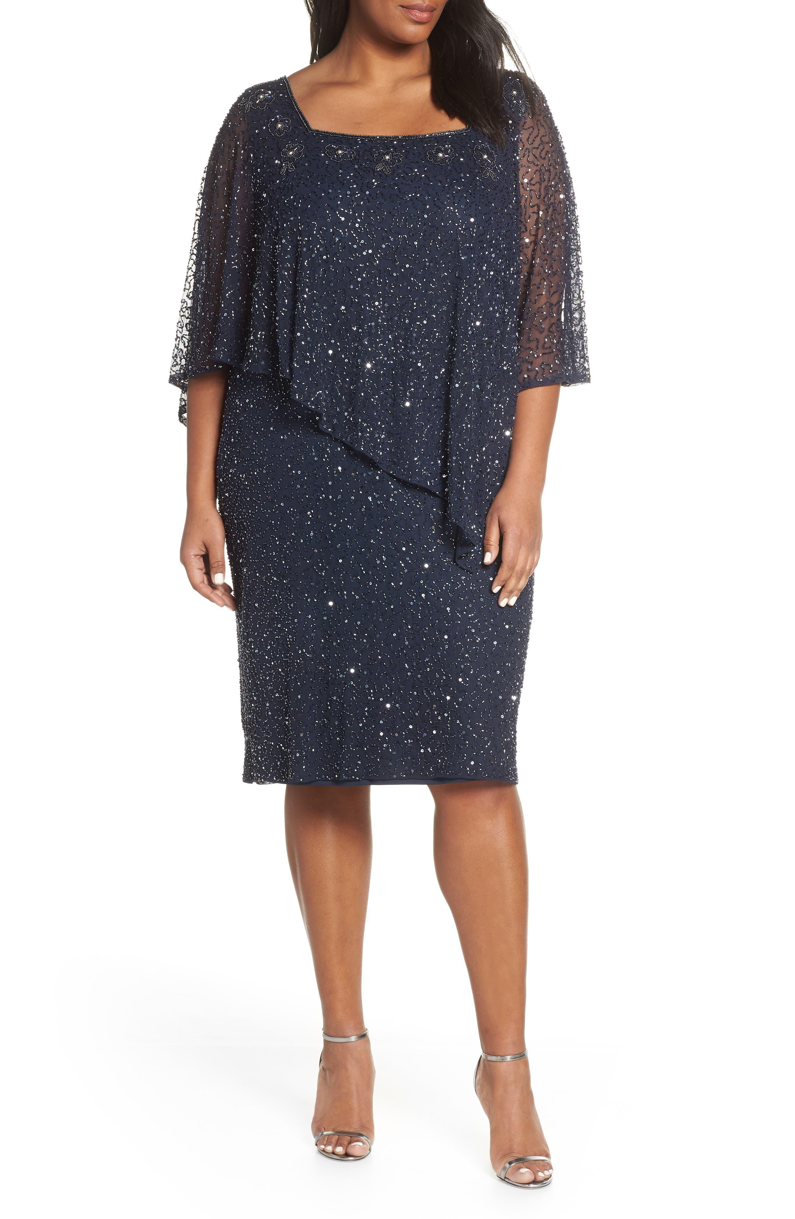 Plus Size Pisarro Nights Cape Bodice Cocktail Dress