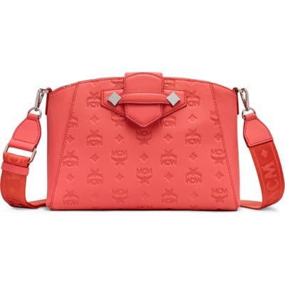 Mcm Small Essential Monogram Leather Crossbody Bag - Pink