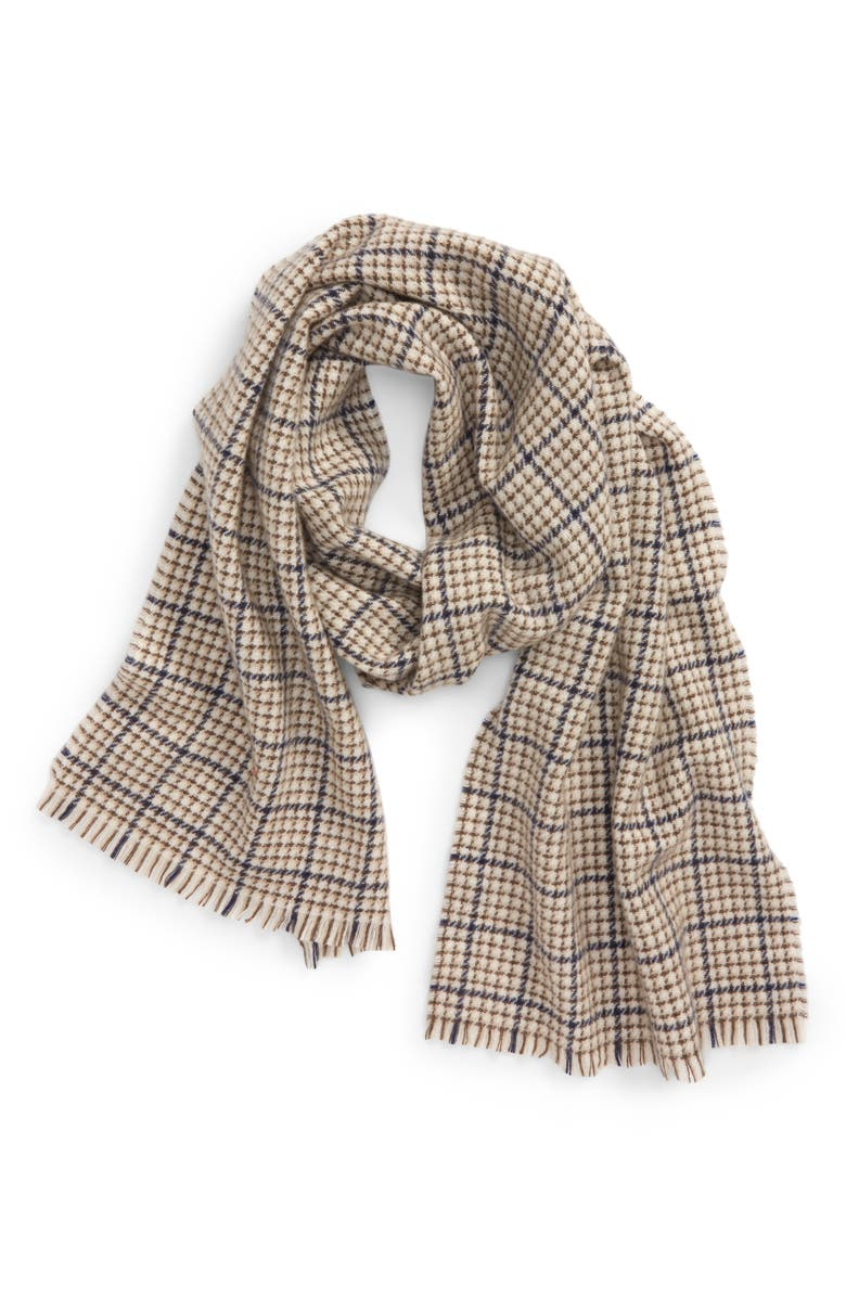 ANDREW STEWART Check Cashmere Scarf, Main, color, TAN NAVY