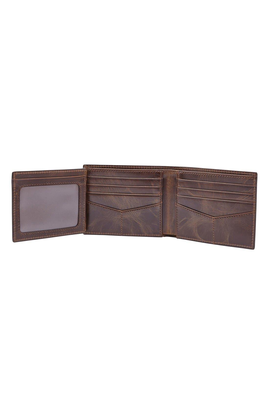,                             'Derrick' RFID Leather Bifold Wallet,                             Alternate thumbnail 3, color,                             DARK BROWN